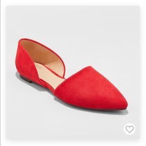 A New Day Rebecca pointed flats, red, NWT